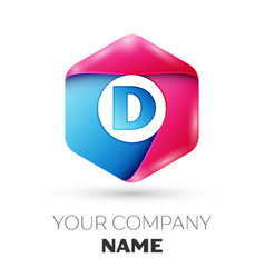 Realistic letter d in colorful hexagonal vector