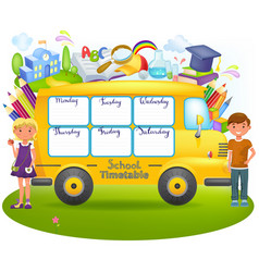 school bus with school timetable vector image vector image