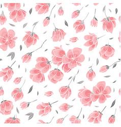 seamless background pattern - pink sakura blossom vector image