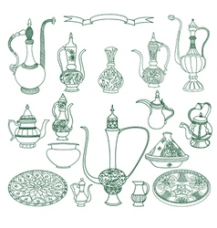 Set of arabic crockery oriental pottery dishes vector