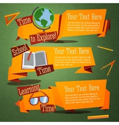 Set of cute back to school banners with globe text vector image vector image