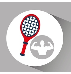 Silhouette man bodybuilder racket tennis vector
