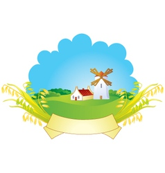 small village with windmill vector image vector image