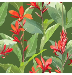 Tropical Leaves and Flowers Background Seamless vector image vector image