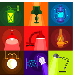 types of light icons set flat style vector image
