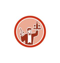 Waiter Serving Wine Holding Corkscrew Retro vector image vector image