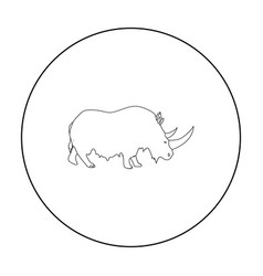 Woolly rhinoceros icon in outline style isolated vector