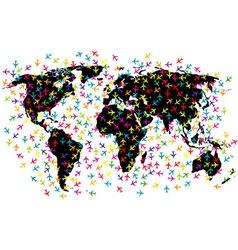 World map airline flights vector