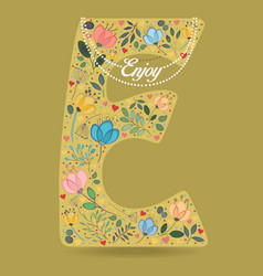 Yellow letter e with floral decor and necklace vector