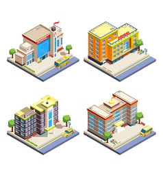 School buildings isometric icons set vector