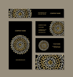 Business cards collection golden mandala design vector
