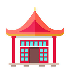 Oriental type of building with triangular roof vector