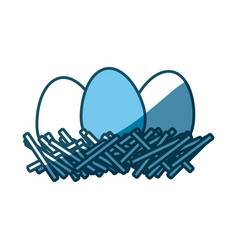 Blue silhouette of nest with eggs vector