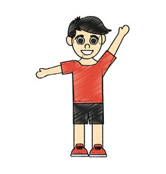 Color pencil caricature black hair boy with open vector