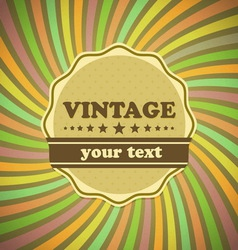 Vintage label on sunrays background vector image