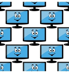 Seamless pattern of a happy desktop monitor vector