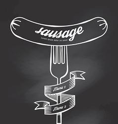 Sausage menu doodle drawn on chalkboard background vector image