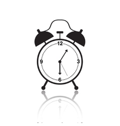 Black and white alarm clock icon vector