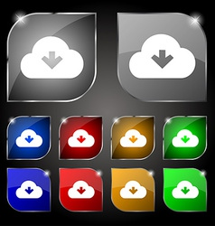 Download from cloud icon sign set of ten colorful vector
