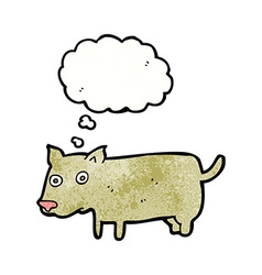 Cartoon little dog with thought bubble vector