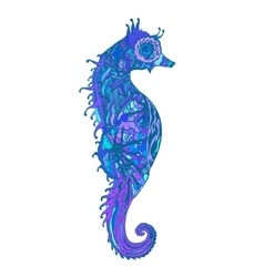 Abstract colored sea horse print vector image