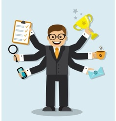 Very busy businessman vector