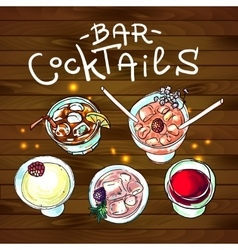 Cocktails bar top view vector