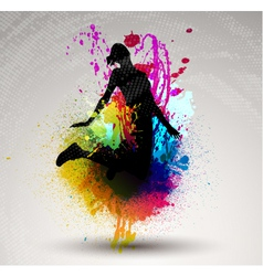 Girl jumping over ink splash vector