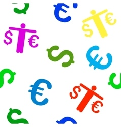 Person compare euro dollar seamless flat vector