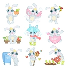 Adorable bunny set vector