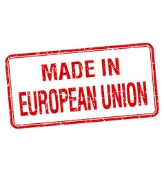Made in european union red square isolated stamp vector