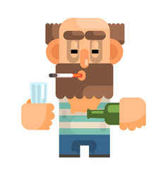 Alcoholic with glass and bottle revolting vector