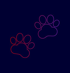 Animal tracks sign line icon with vector