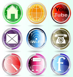 Badge Button Contact Information Logo Marketing Co vector image vector image