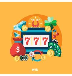 Casino pockie machine round composition vector