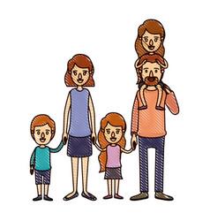 Color crayon stripe cartoon big family parents vector