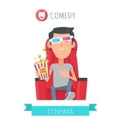 Comedy story man in cinema seat entertainment vector