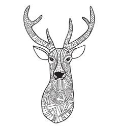 Deer Hand-drawn reindeer with ethnic doodle vector image vector image