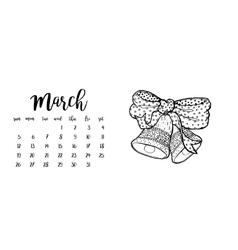 Desk calendar template for month march vector