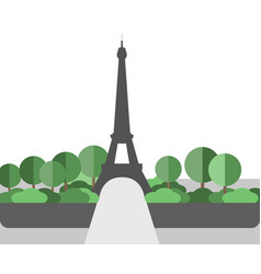 Eiffel tower landscape in a flat style vector