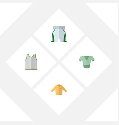 Flat icon garment set of casual trunks cloth vector