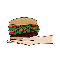 hand holding burger delicious unhealthy fast food vector image vector image
