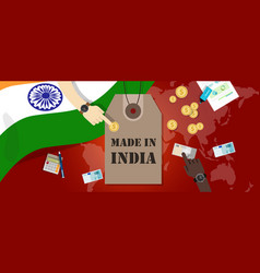 Made in india price tag badge export vector