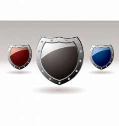 metal shield icons vector image vector image