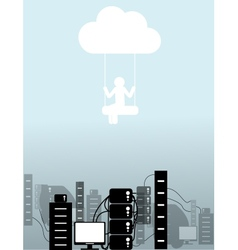 person on a cloud vector image