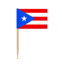 puerto rico flag toothpick on white background vector image vector image