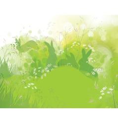 rabbits grass vector image