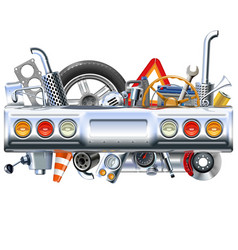 rear car part with spares vector image vector image
