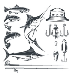 Set icons on the theme of fishing vector