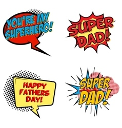 Set of comic style phrases for dad day cartoon vector